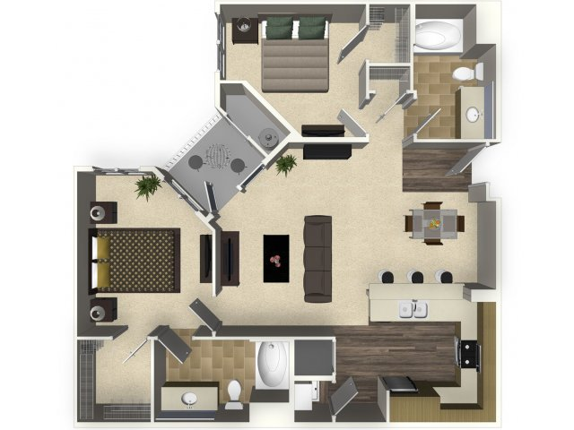 2 bedroom 2 bathroom apartment B1 floorplan at Venue Apartments in San Jose, CA