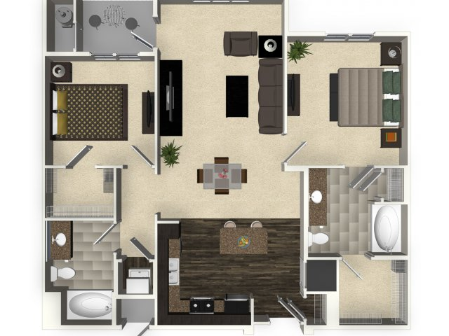 2 bedroom 2 bathroom apartment B2 floorplan at Venue Apartments in San Jose, CA