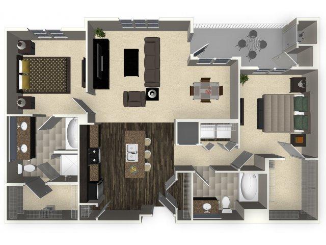 2 bedroom 2 bathroom apartment B4 floorplan at Venue Apartments in San Jose, CA