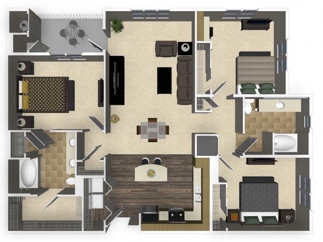 3 bedroom 2 bathroom apartment C1 floorplan at Venue Apartments in San Jose, CA