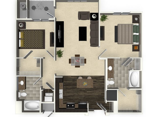 2 bedroom 2 bathroom apartment B2A floorplan at Venue Apartments in San Jose, CA