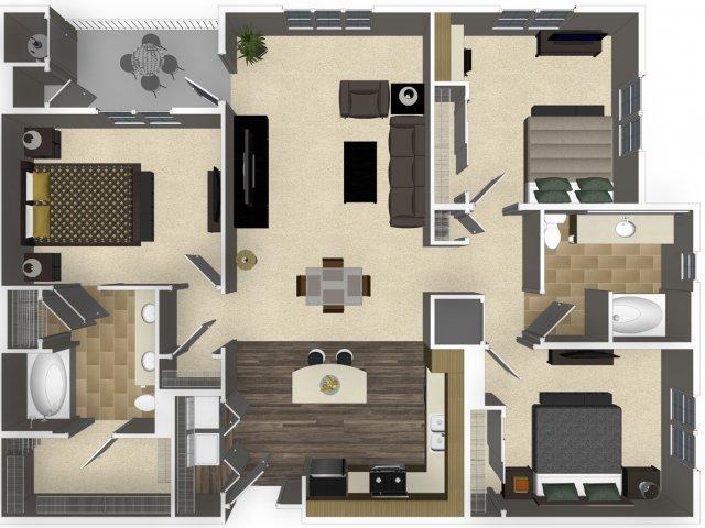 3 bedroom 2 bathroom apartment C1L floorplan at Venue Apartments in San Jose, CA
