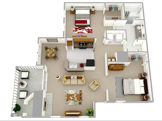 2 bedroom 1 bathroom apartment home floor plan at Reafield Village Apartments in Charlotte, NC