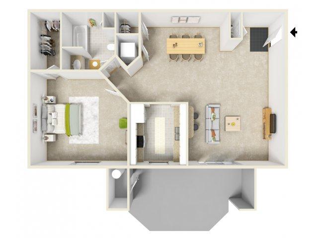 One bedroom one bathroom A2 Floorplan at Solana Ridge Apartments in Temecula, CA