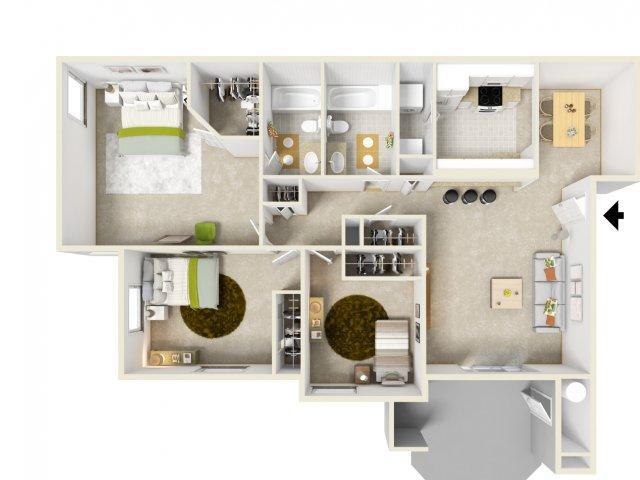 Three bedroom two bathroom C1 Floorplan at Solana Ridge Apartments in Temecula, CA