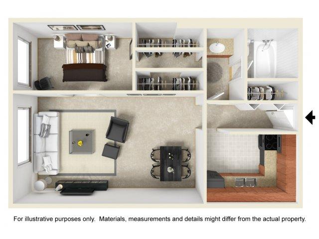 Studio one bathroom S1 floorplan at The Harlowe Apartments in Arlington, VA
