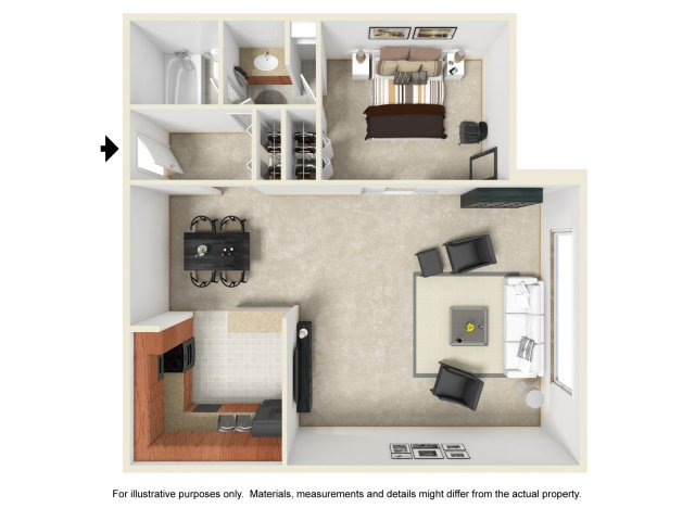 Studio one bathroom S2 floorplan at The Harlowe Apartments in Arlington, VA