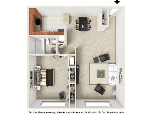 One bedroom one bathroom A2 floorplan at The Harlowe Apartments in Arlington, VA