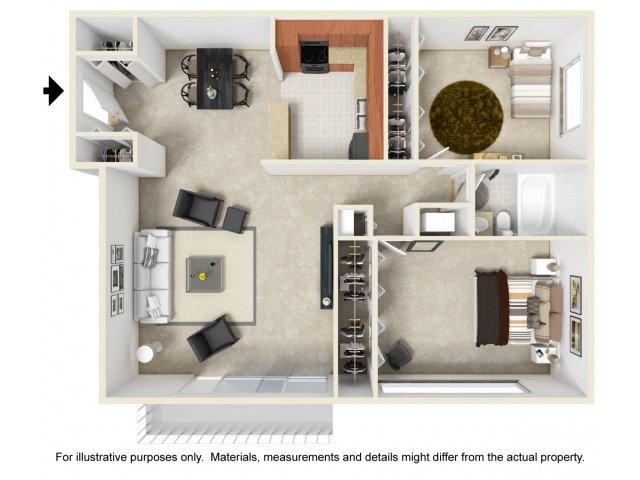 Two bedroom one bathroom B1 floorplan at The Harlowe Apartments in Arlington, VA