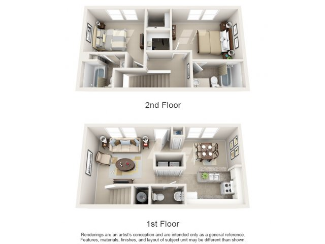 Two bedroom two and a half bathroom B3TH floorplan at Arbor Walk Apartments in Tampa, FL