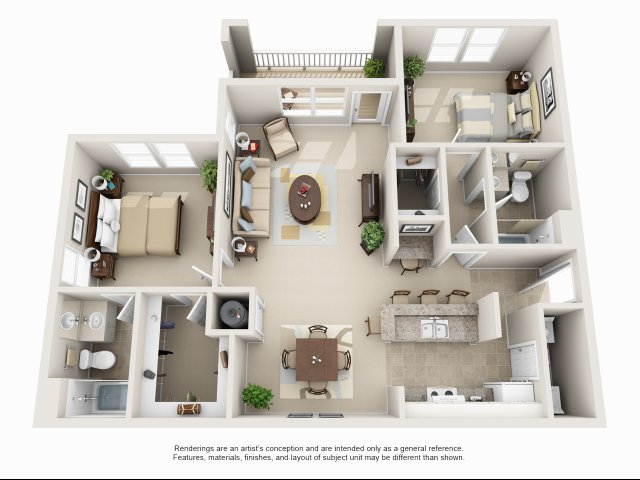 Two bedroom two bathroom B4 floorplan at Arbor Walk Apartments in Tampa, FL