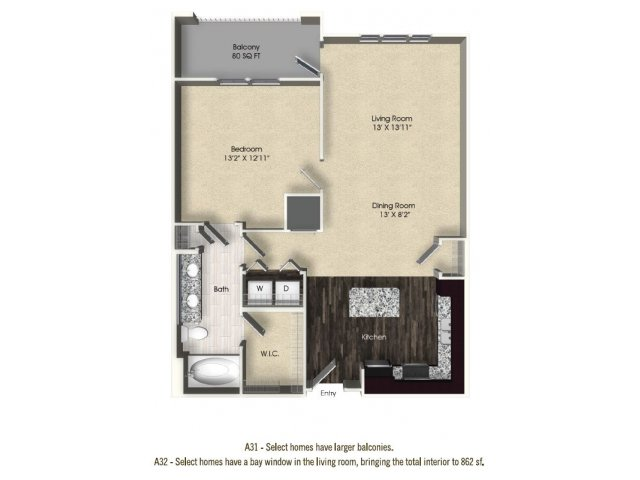 1 bedroom 1 bathroom apartment A31 floor plan at The Views at Harbortown Apartments in Jacksonville, FL