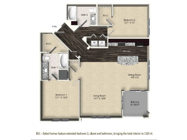 2 bedroom 2 bathroom apartment B51 floor plan at The Views at Harbortown Apartments in Jacksonville, FL