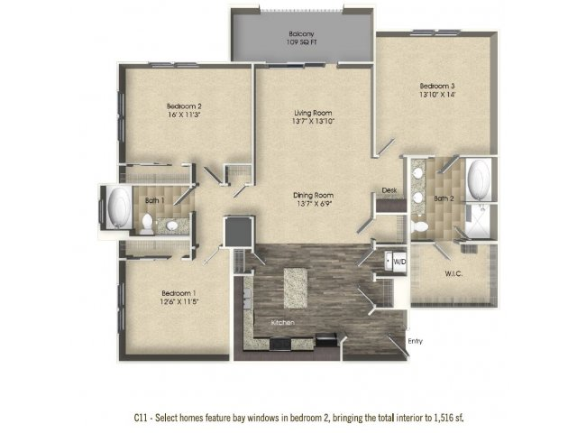 3 bedroom 2 bathroom apartment C11 floor plan at The Views at Harbortown Apartments in Jacksonville, FL