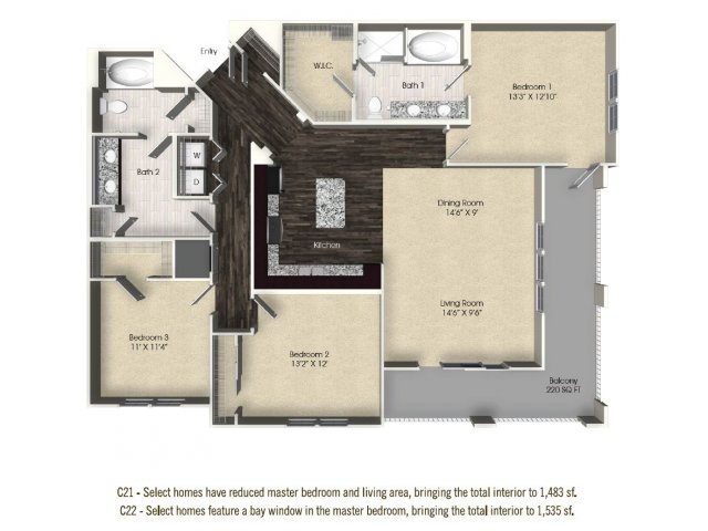 3 bedroom 2 bathroom apartment C21 floor plan at The Views at Harbortown Apartments in Jacksonville, FL