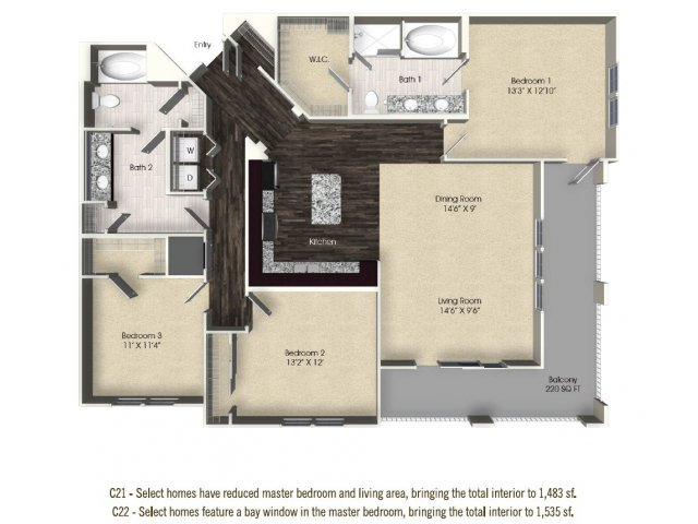 3 bedroom 2 bathroom apartment C22 floor plan at The Views at Harbortown Apartments in Jacksonville, FL