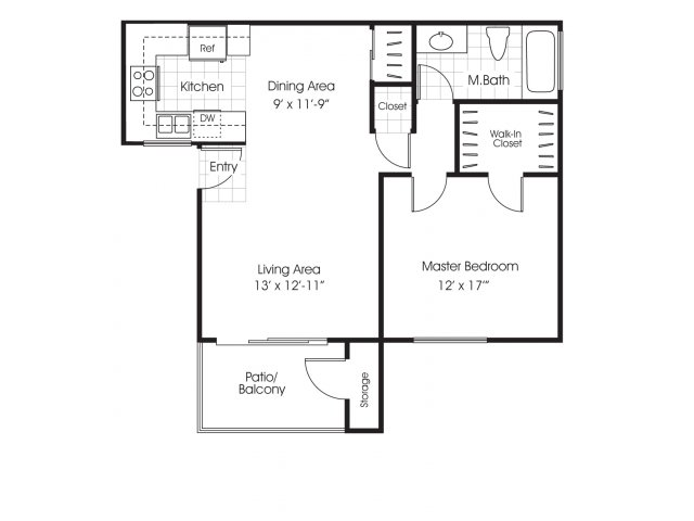 One bedroom one bathroom A1 floor plan at Belmont Apartment Homes in Pittsburg, CA
