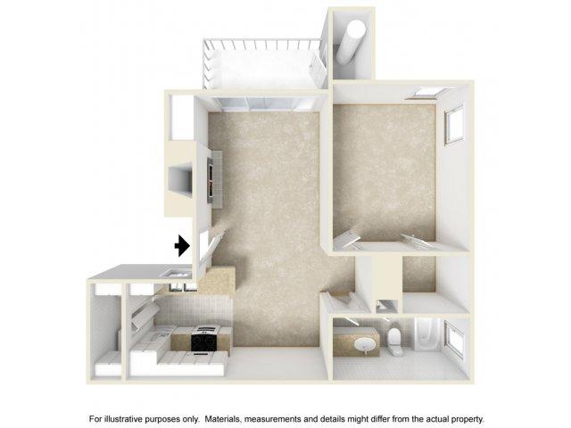 1 bedroom 1 bathroom A1 floorplan at Helix Apartments in Las Vegas, NV