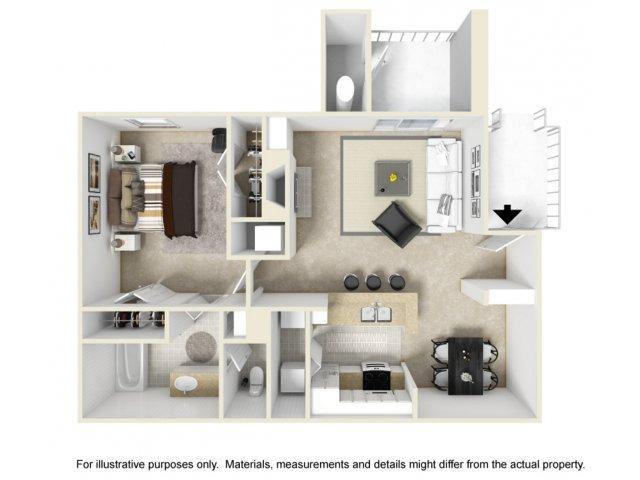 1 bedroom 1 bathroom A2 floorplan at Helix Apartments in Las Vegas, NV