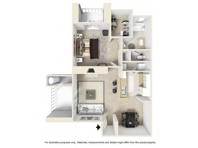 1 bedroom 1 bathroom A3 floorplan at Helix Apartments in Las Vegas, NV