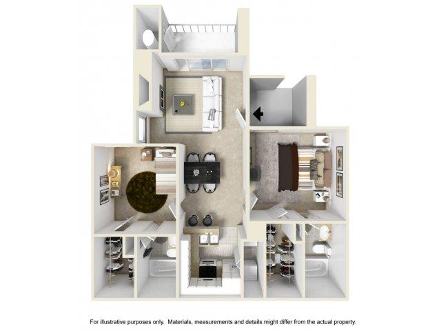 2 bedroom 2 bathroom B1 floorplan at Helix Apartments in Las Vegas, NV