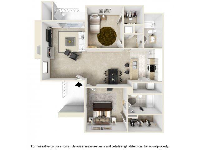 2 bedroom 2 bathroom B2 floorplan at Helix Apartments in Las Vegas, NV