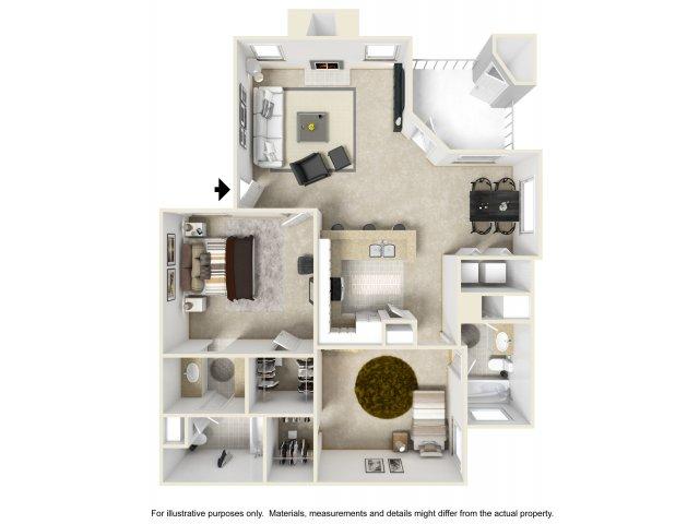 2 bedroom 2 bathroom B3 floorplan at Helix Apartments in Las Vegas, NV