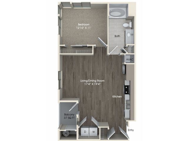 1 bedroom 1 bathroom A1 floorplan at Pulse Millenia Apartments in Chula Vista, CA