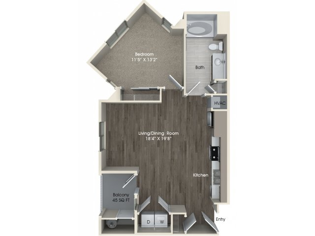 1 bedroom 1 bathroom A1A floorplan at Pulse Millenia Apartments in Chula Vista, CA
