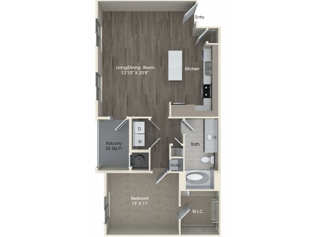 1 bedroom 1 bathroom A3 floorplan at Pulse Millenia Apartments in Chula Vista, CA