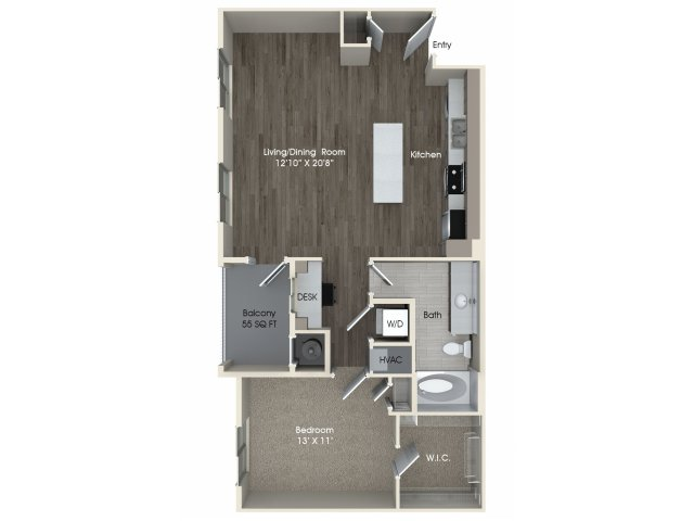 1 bedroom 1 bathroom A3A floorplan at Pulse Millenia Apartments in Chula Vista, CA
