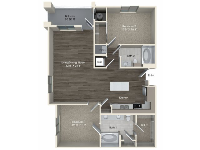 2 bedroom 2 bathroom B2 floorplan at Pulse Millenia Apartments in Chula Vista, CA