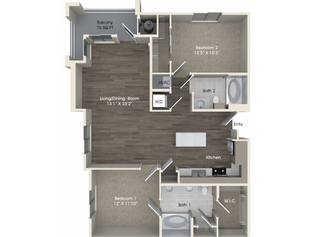 2 bedroom 2 bathroom B2A floorplan at Pulse Millenia Apartments in Chula Vista, CA
