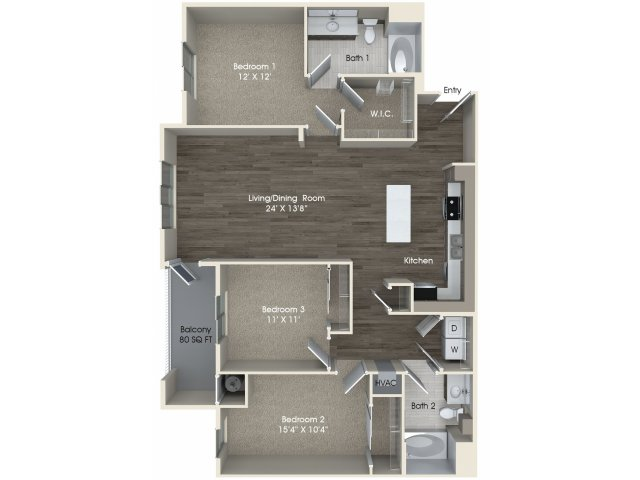 2 bedroom 2 bathroom C1 floorplan at Pulse Millenia Apartments in Chula Vista, CA
