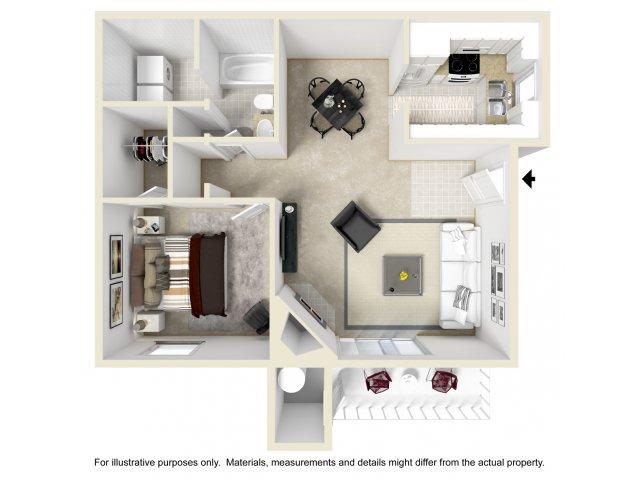 1 bedroom 1 bathroom A1 floorplan at Array South Mountain in Phoenix, AZ
