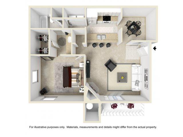 1 bedroom 1 bathroom A2 Floorplan at Array South Mountain in Phoenix, AZ