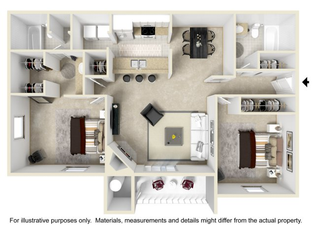 2 bedroom 2 bathroom B1 floorplan at Array South Mountain in Phoenix, AZ