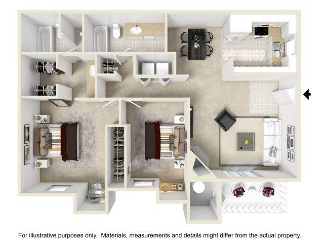 2 bedroom 2 bathroom B2 floorplan at Array South Mountain in Phoenix, AZ