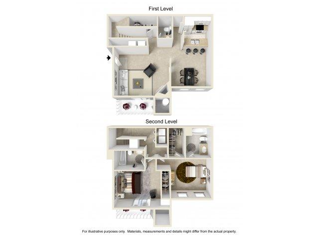 2 bedroom 2 bathroom B3 floorplan at Array South Mountain in Phoenix, AZ