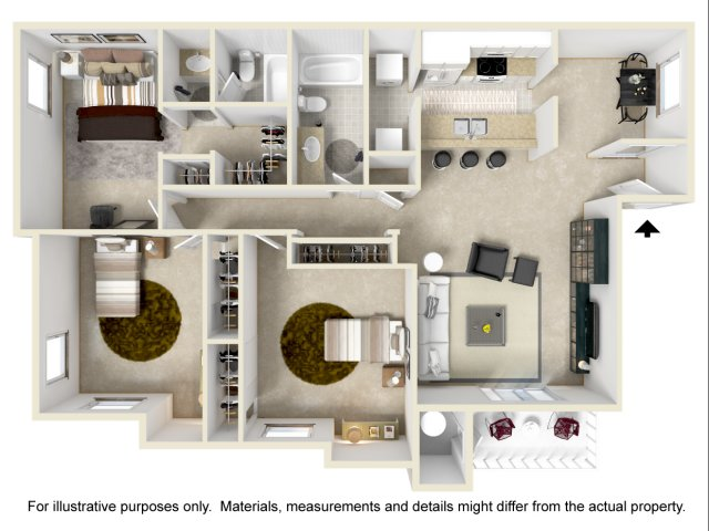3 bedroom 2 bathroom C1 floorplan at Array South Mountain in Phoenix, AZ