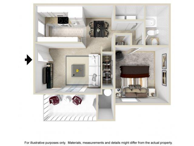1 bedroom 1 bathroom A1 floorplan Lore South Mountain Apartments in Phoenix, AZ