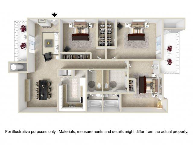 3 bedroom 2 bathroom C1 floorplan at Lore South Mountain Apartments in Phoenix, AZ