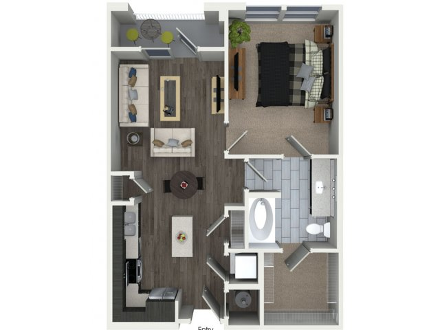 One bedroom one bathroom A1 floorplan at 555 Ross Avenue Apartments in Dallas, TX