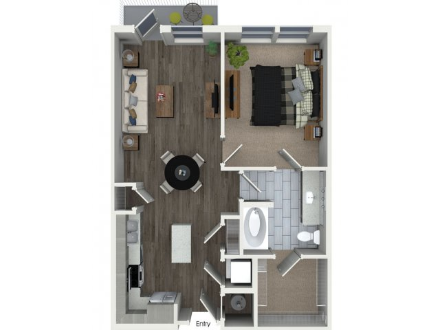 One bedroom one bathroom A11 floorplan at 555 Ross Avenue Apartments in Dallas, TX