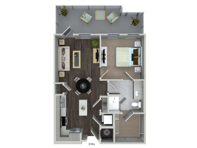One bedroom one bathroom A12 floorplan at 555 Ross Avenue Apartments in Dallas, TX