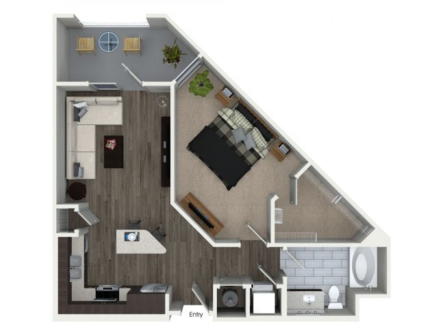 One bedroom one bathroom A2 floorplan at 555 Ross Avenue Apartments in Dallas, TX