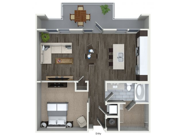 One bedroom one bathroom A3 floorplan at 555 Ross Avenue Apartments in Dallas, TX