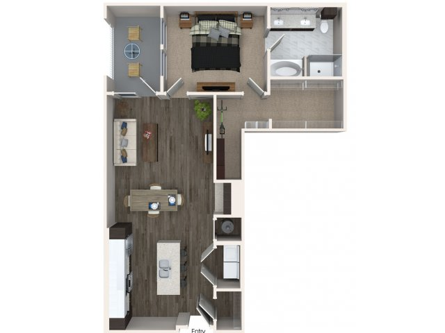 One bedroom one bathroom A4 floorplan at 555 Ross Avenue Apartments in Dallas, TX