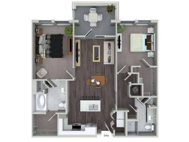 Two bedroom two bathroom B14 floorplan at 555 Ross Avenue Apartments in Dallas, TX