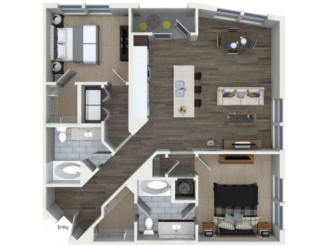 Two bedroom two bathroom B22 floorplan at 555 Ross Avenue Apartments in Dallas, TX